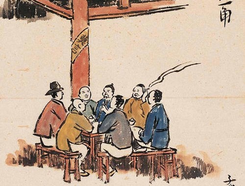 Drawing by Feng Zikai of tea drinkers and smokers